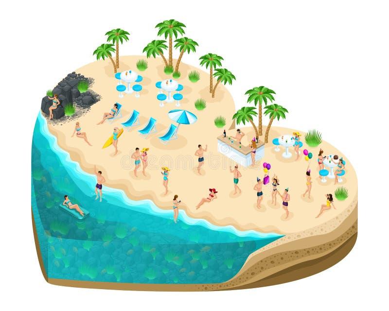 Isometry-Insel in Form eines Herzens, ein Geschenk für allen Liebhaber ` Tag Leute des Feiertags 3D haben Spaß auf der fabelhafte vektor abbildung