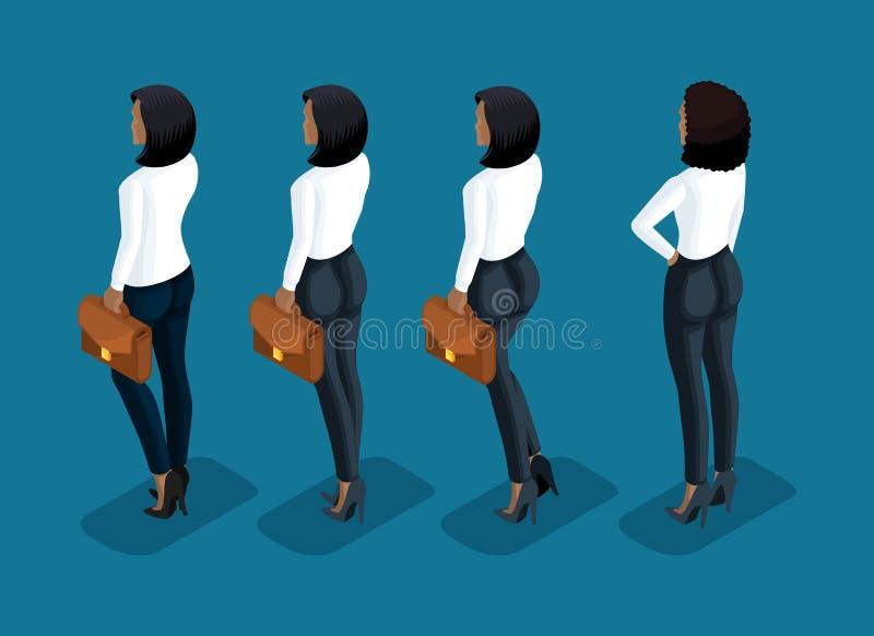 Isometry jest biznesowym kobietą 3d dziewczyna amerykanin afrykańskiego pochodzenia urzędnik w biznesowych spodniach i bluzka tyl ilustracja wektor