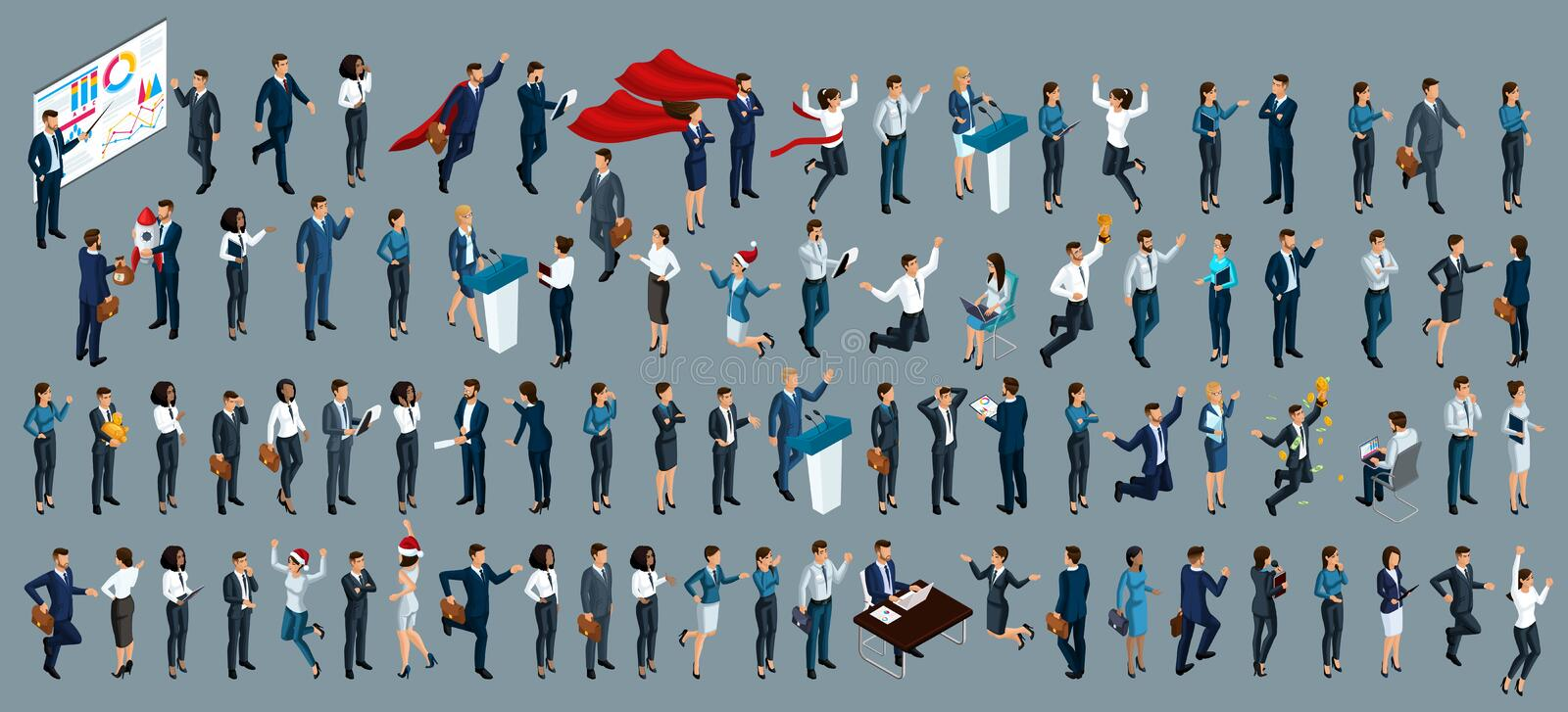 Isometry is a large set of businessmen and business ladies. 3d lawyers, economists, presidents, bank employees and entrepreneurs. With different gestures and stock illustration