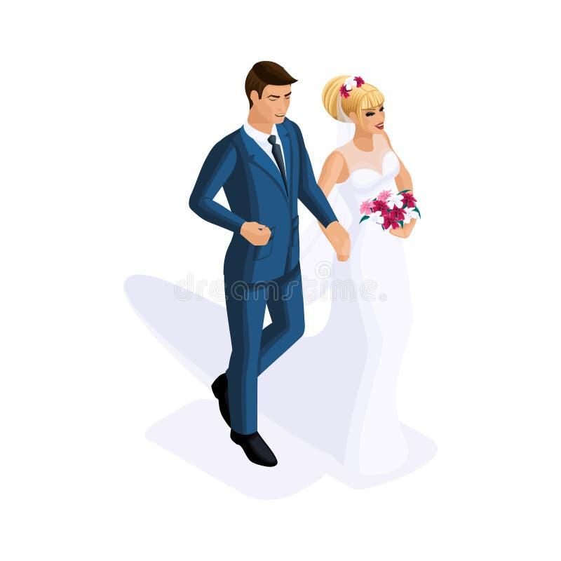 Isometry mężczyzna i kobieta przy małżeństwem, państwo młodzi, ślubna suknia Mężczyzna w kostiumu, dziewczyna z kwiatami royalty ilustracja