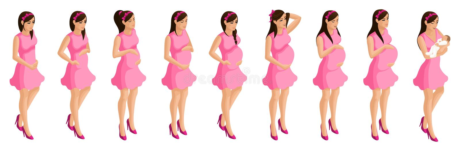 Isometry of a pregnant girl, stages and timing of pregnancy. Birth of a child, mother and child, happy family royalty free illustration