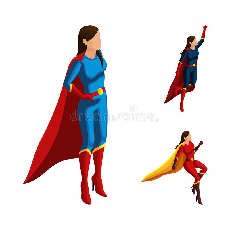 Isometry A set of superhero girls in different suits, looks after the order, the cloak develops, 3D woman flies, heroes, rescuers vector illustration