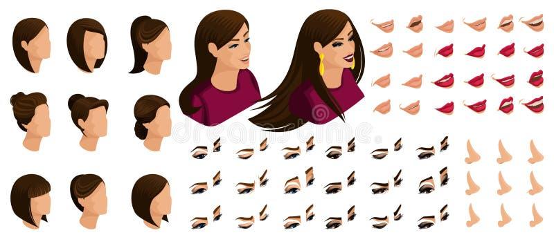 Isometry symboler av sinnesrörelserna av en härlig kvinna, 3D hår, framsidor, ögon, kanter, näsa Roligt vända mot vektor illustrationer