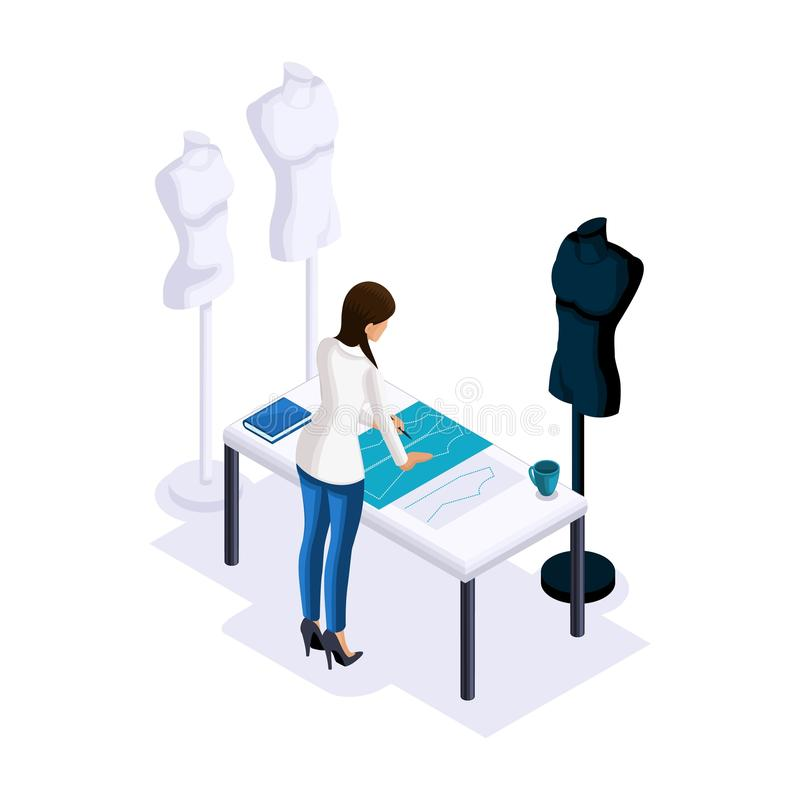 Isometry of a tailor, the designer makes patterns, creating clothes for sale, dummies for fitting. The entrepreneur working for. Himself, his own business stock illustration