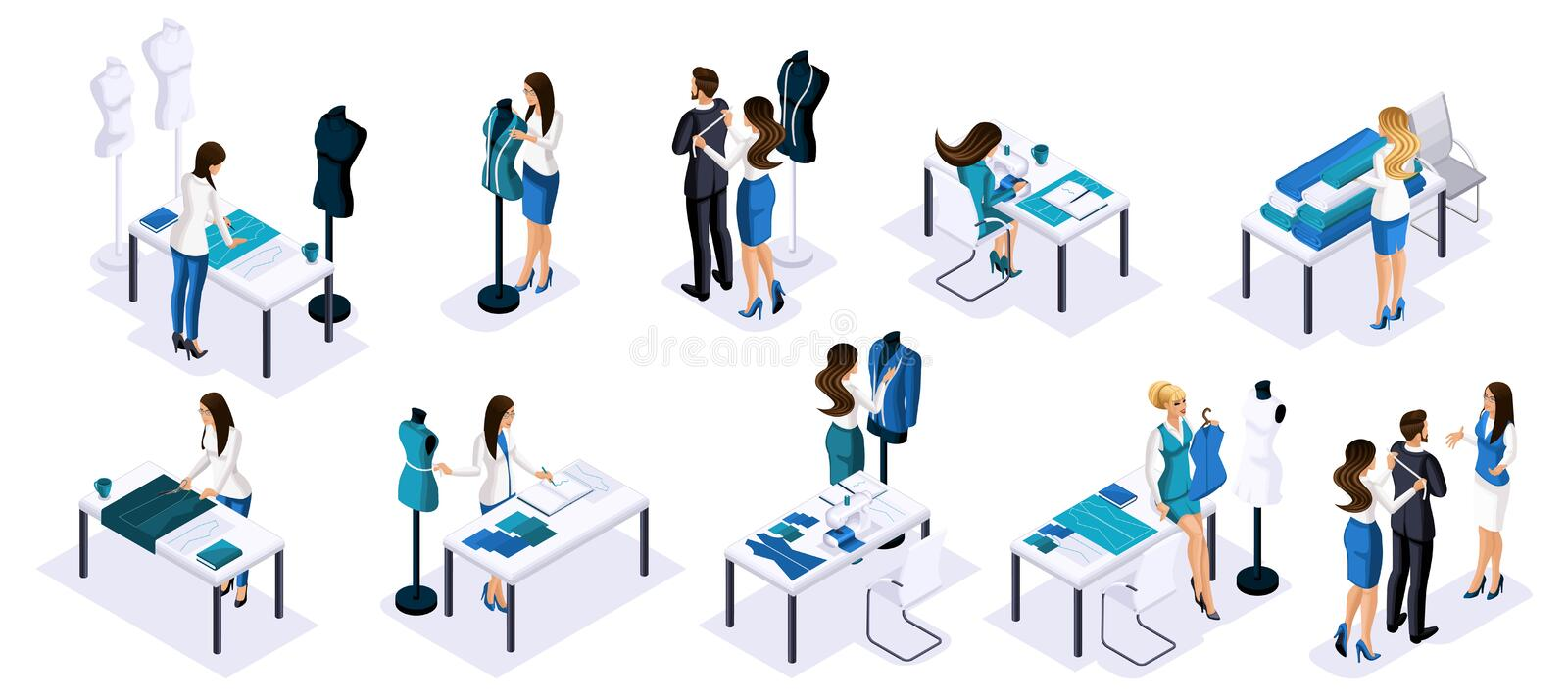 Isometry Tailor workshop, set of tailors, seamstress and designer, create new clothes for sale. The entrepreneur working for. Himself, his own business vector illustration