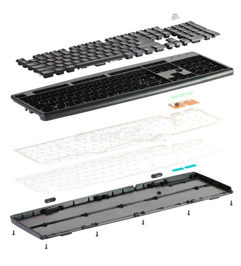 Isometry teclado desmontado isolado no fundo branco fotos de stock royalty free