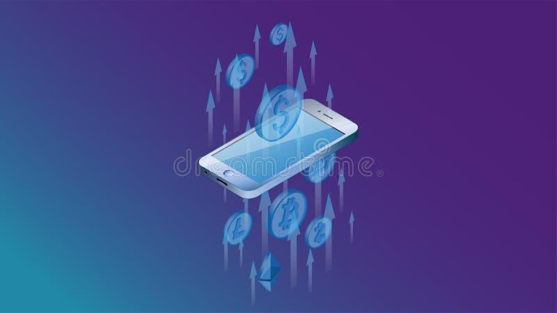 Isometry Um smartphone através de que os fluxos de caixa passam Um conceito de usar um smartphone para converter o cryptocurrency ilustração stock