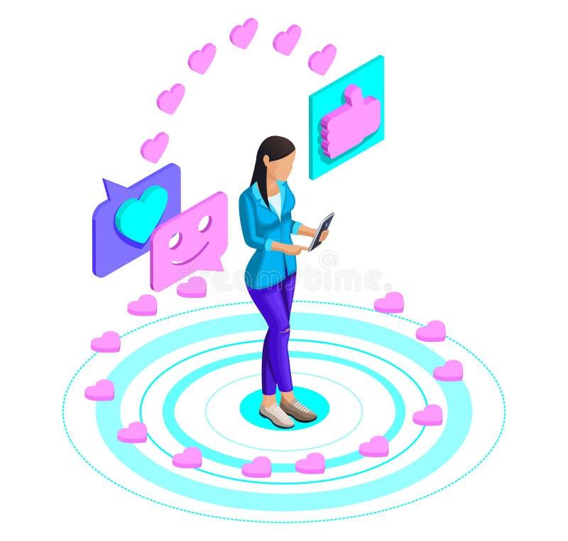 Isometry van een meisje die op een video op een sociaal netwerk, het zetten letten houdt van op een smartphone, videobloggen, med royalty-vrije illustratie