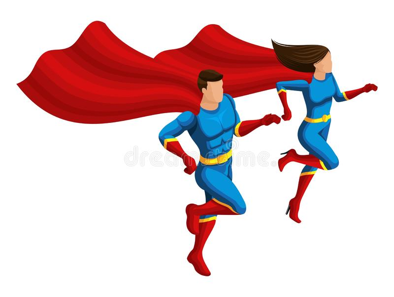 Isometry van superheroes is een mens en een meisje in kostuums, lopen zij om te helpen, ontwikkelt de mantel zich, 3D karakters royalty-vrije illustratie