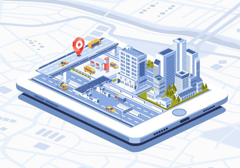 Isometryczna ilustracja aplikacji mobilnej Smart City na tablecie obraz stock