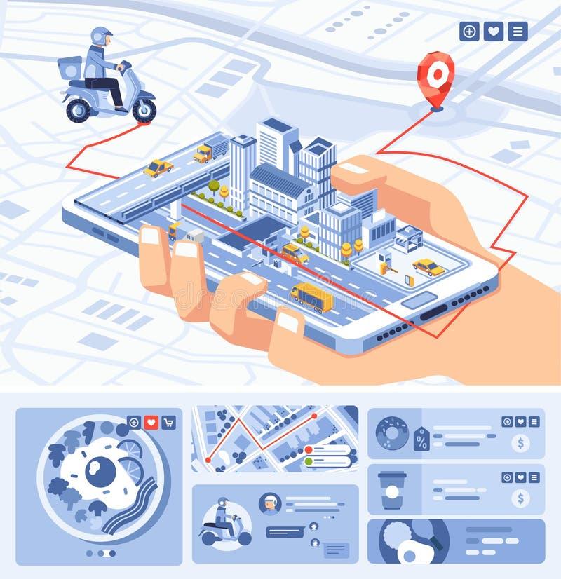 Isometryczna ilustracja aplikacji mobilnej aplikacji spożywczej na smartfonie z trasą na mapie fotografia royalty free