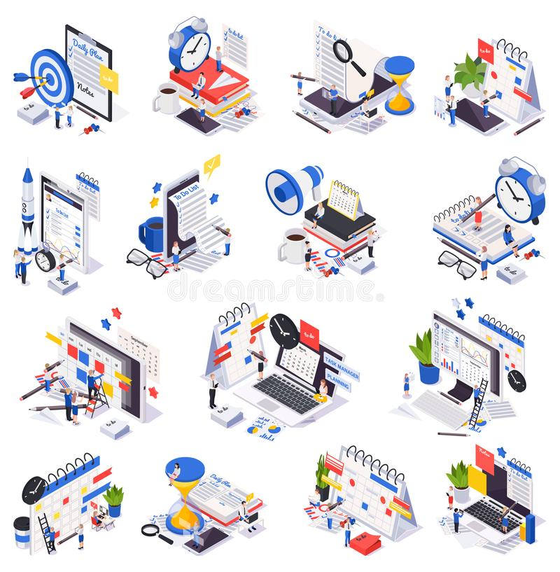 Isometryczny zestaw ikon harmonogramu planowania zarządzania czasem ilustracja wektor