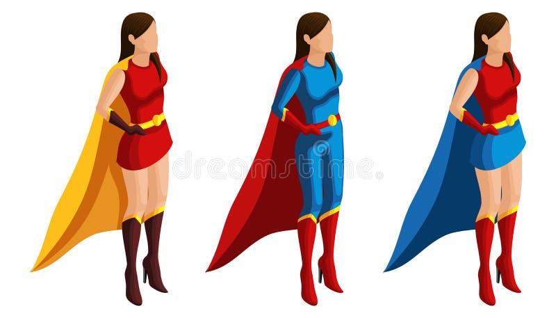 Isometryreeks superheromeisjes in kostuums, tribune op wacht van orde, 3D karakters, helden, redders Vector illustratie royalty-vrije illustratie