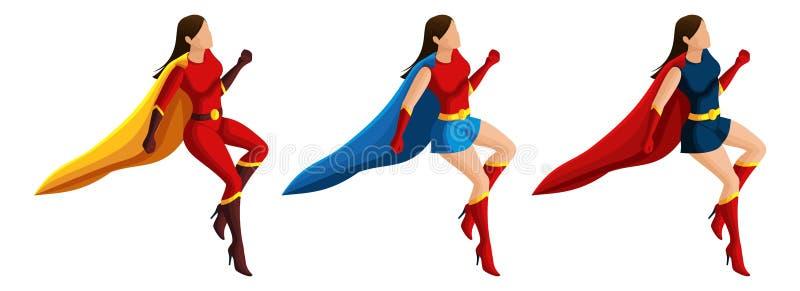 Isometryreeks superheromeisjes in kostuums, vlieg, 3D karakters, helden, redders Vector illustratie royalty-vrije illustratie