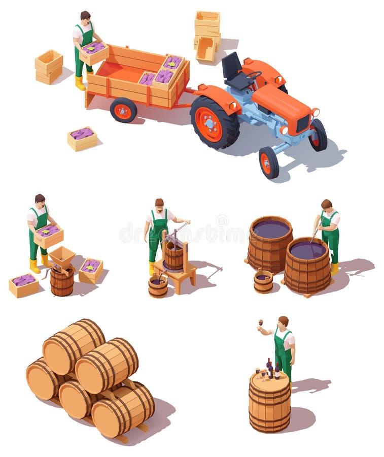 Isoometrisches Weinbaugerät lizenzfreie abbildung