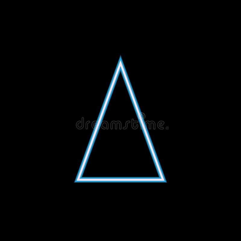 isosceles triangle icon in neon style. One of geometric figure collection icon can be used for UI, UX royalty free illustration