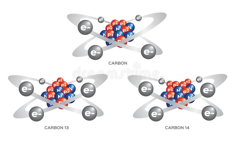 Isotope of carbon . 3 steps vector stock illustration