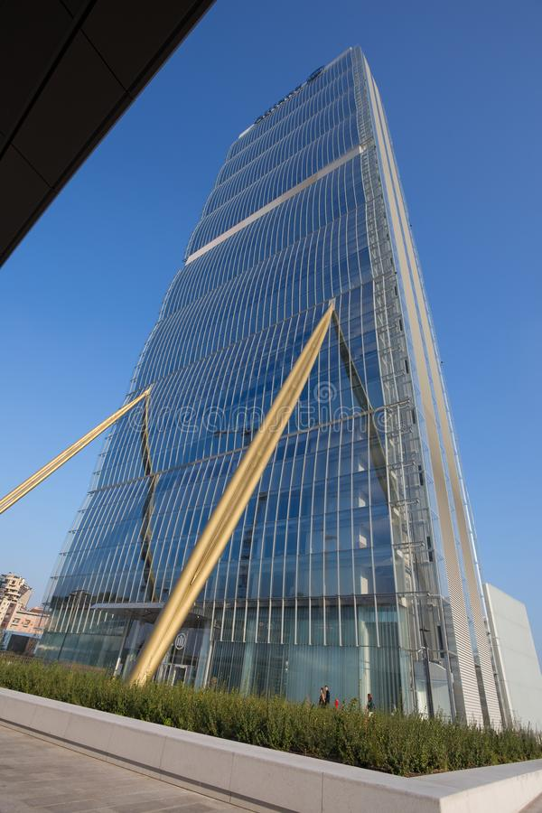Isozaki Tower in `City Life` complex in 3 Torri Milan place, modern buildings and condos, Italy. royalty free stock photo