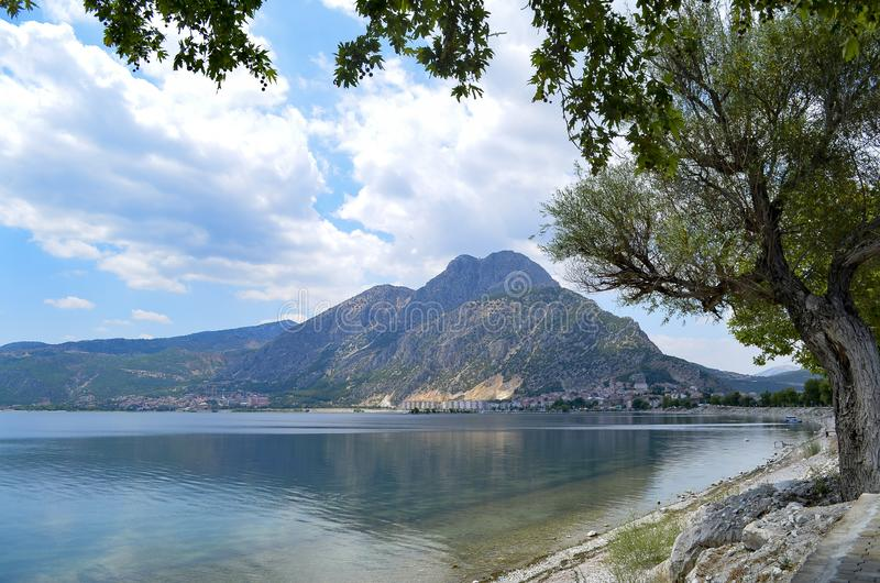 Isparta province Egirdir lake. Egirdir lake and mountain, Isparta province, Turkey stock photography