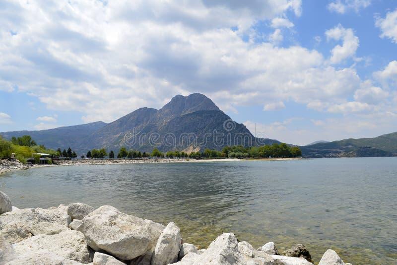 Isparta province Egirdir lake. Egirdir lake and mountain, Isparta province, Turkey royalty free stock photo