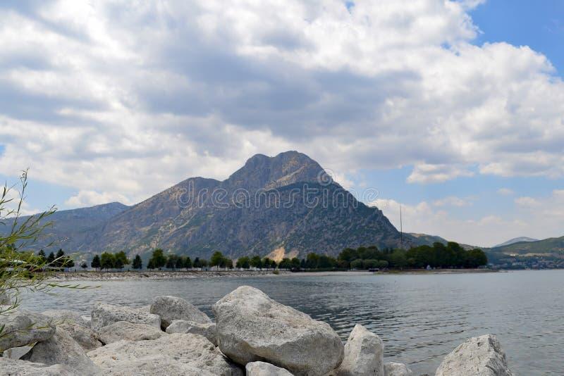 Isparta province Egirdir lake. Egirdir lake and mountain, Isparta province, Turkey royalty free stock image