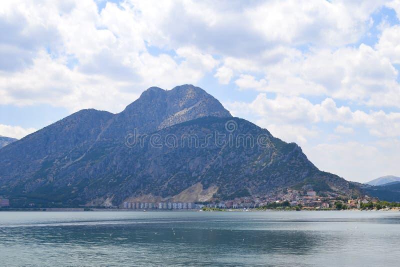 Isparta province Egirdir lake. Egirdir lake and mountain, Isparta province, Turkey stock photos