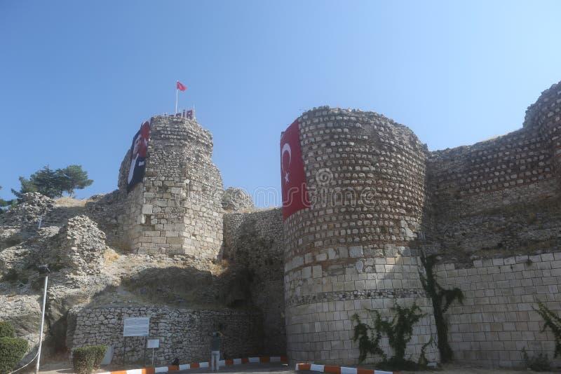 A view of Egirdir Castle, Isparta stock image