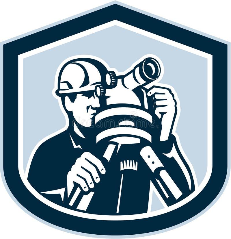 Ispettore Surveying Theodolite Shield retro illustrazione di stock