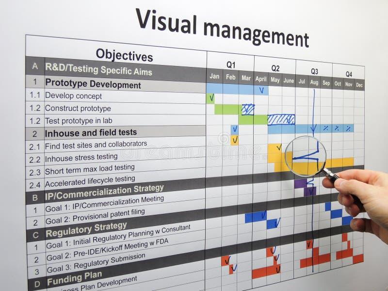 Ispezionando il backspike sul progetto progetti facendo uso di gestione visiva fotografie stock libere da diritti