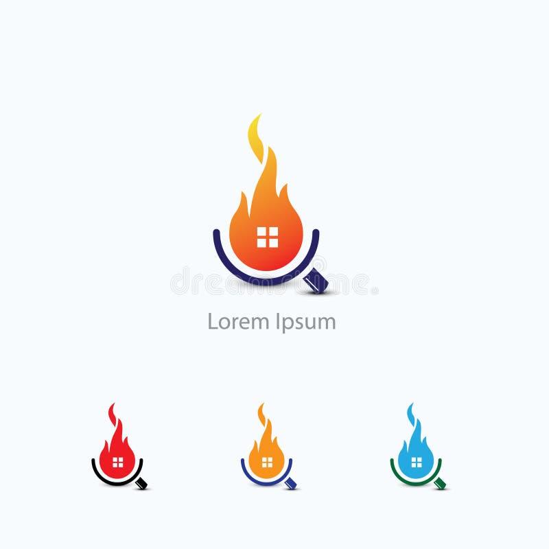 Ispezione domestica Logo Template, sicurezza e protezione della casa da fuoco illustrazione di stock