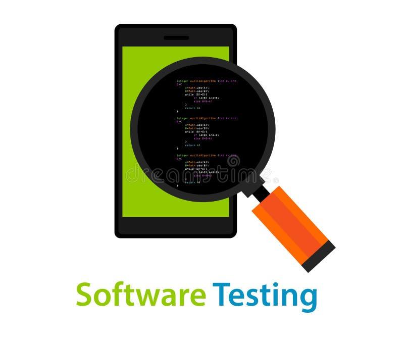 Ispezione mobile di codice di prova del software applicativo royalty illustrazione gratis