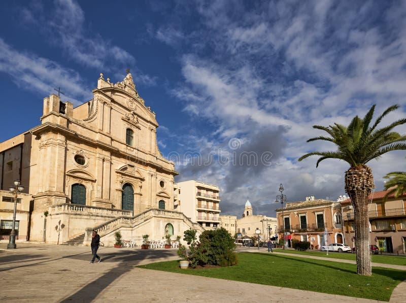 Ispica Sicily Italy. Chiesa Madre S. Bartolomeo. Ispica Sicily Italy royalty free stock photo