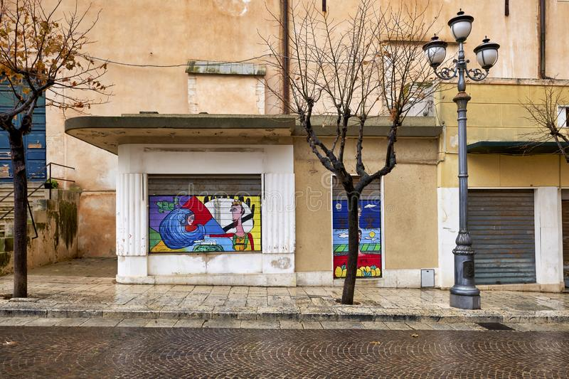 Ispica Sicily Italy. Street Art in the streets of Ispica Sicily Italy stock photo