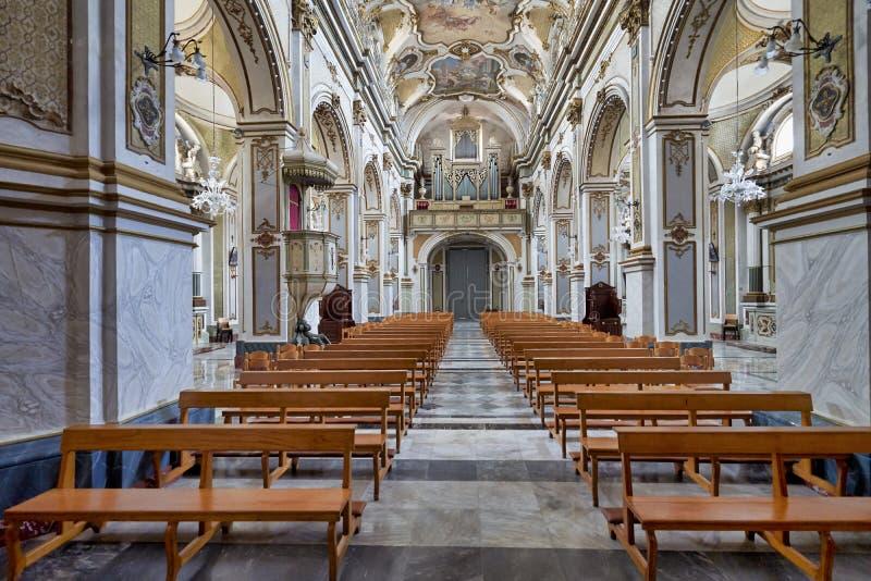 Ispica Sicily Italy. Vincenzo Sinatra`s Basilica Santa Maria Maggiore. Ispica Sicily Italy stock photo