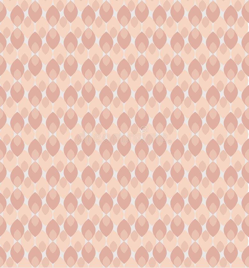 Ispirato dal modello femminile di vettore della carta da parati degli anni 70 nel rosa e nei toni di corallo illustrazione vettoriale