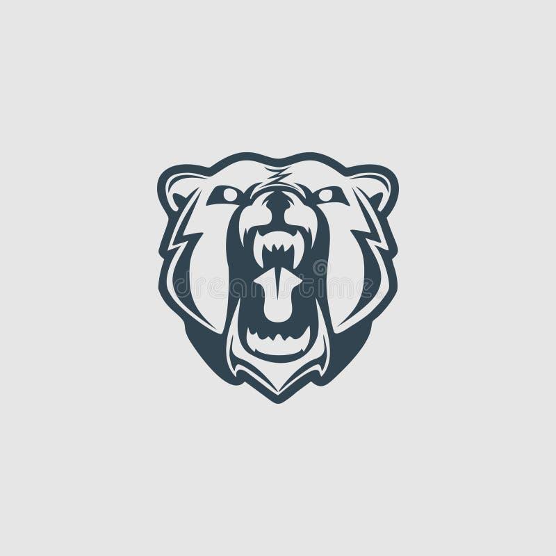 Ispirazione capa di logo di progettazione del monogramma dell'orso grigio illustrazione vettoriale