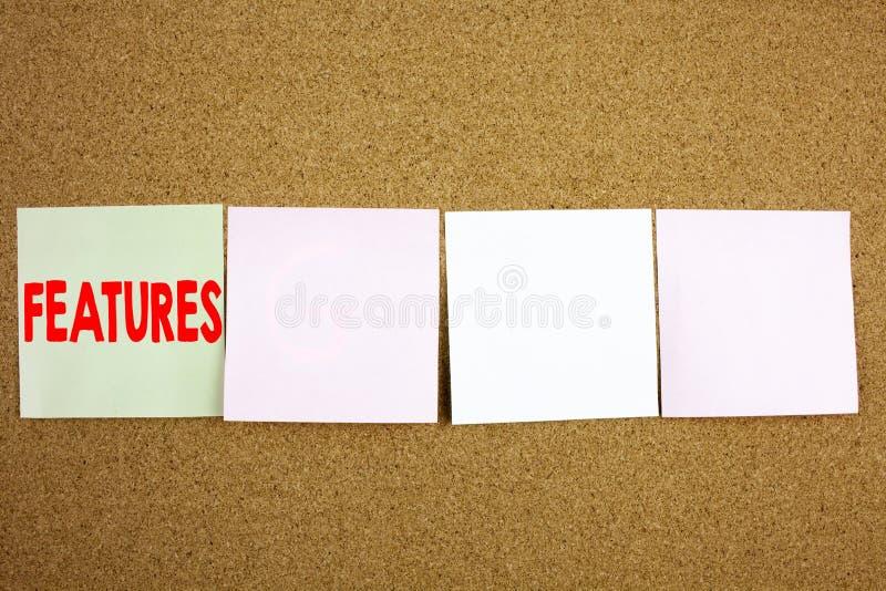 Ispirazione concettuale di titolo del testo di scrittura della mano che mostra concetto di affari delle caratteristiche per la pu fotografia stock