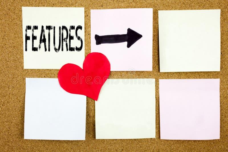 Ispirazione concettuale di titolo del testo di scrittura della mano che mostra concetto delle caratteristiche per la pubblicità d fotografia stock