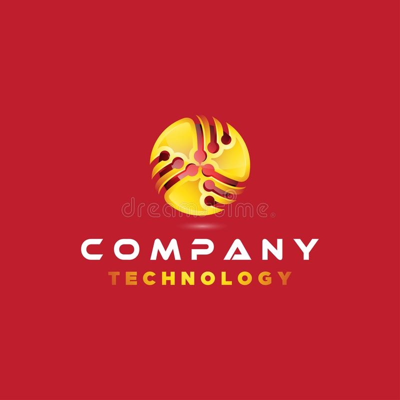 ispirazione dell'illustrazione dell'icona di vettore di progettazione di logo 3D con i collegamenti per la società di tecnologia illustrazione vettoriale