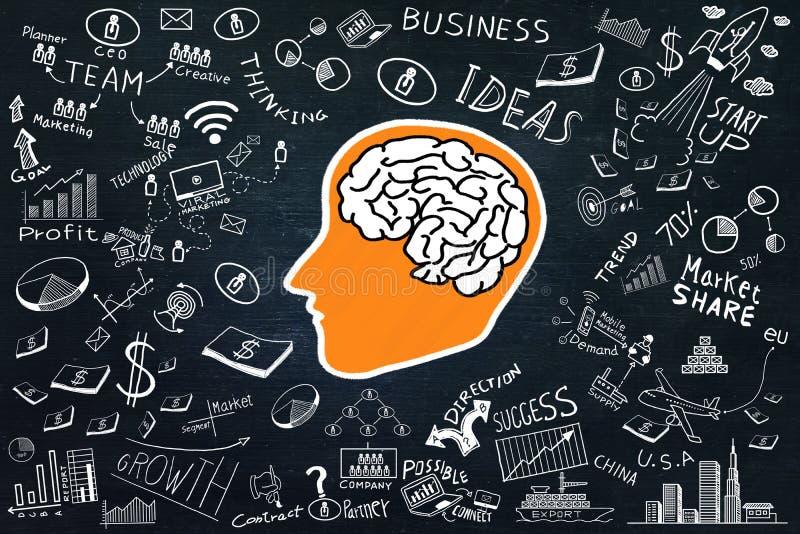 Ispirazione di creatività, concetti di idee con potere del cervello ed elemento di scarabocchio di affari su fondo scuro immagini stock