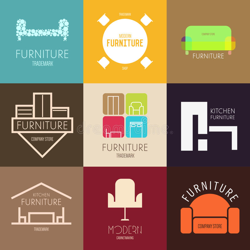 Ispirazione di logo, del distintivo o dell'etichetta con mobilia per i negozi, le società, la pubblicità o l'altro settore immagini stock libere da diritti