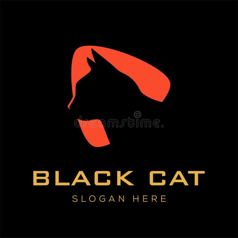 Ispirazione di progettazione di logo del gatto nero illustrazione vettoriale
