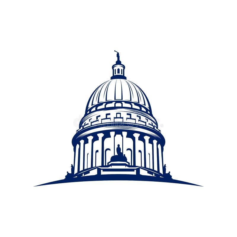 Ispirazione di progettazione di logo della cupola del Campidoglio - ispirazione capitale di progettazione di logo royalty illustrazione gratis