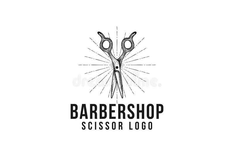ispirazione disegnata a mano d'annata di progettazione di logo del negozio di barbiere di forbici illustrazione di stock