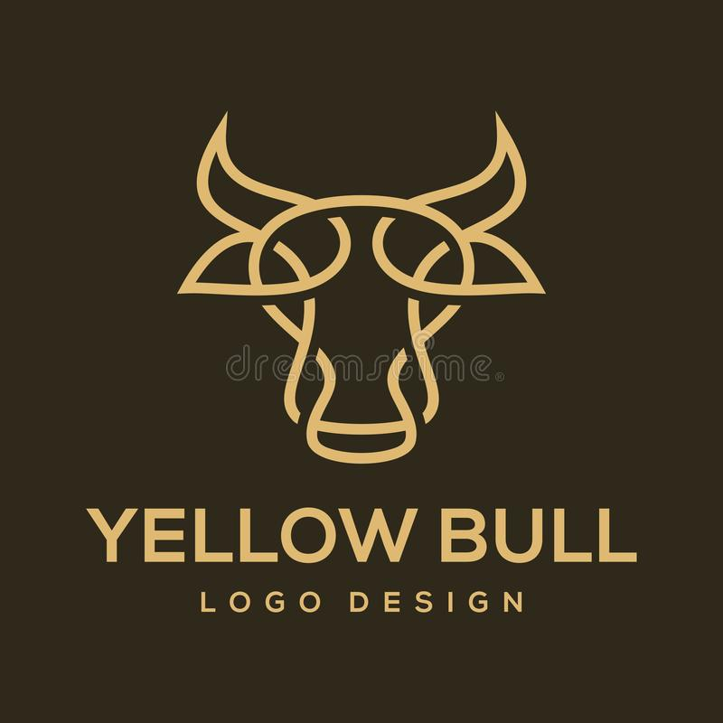 Ispirazione gialla di progettazione di vettore di logo del toro royalty illustrazione gratis