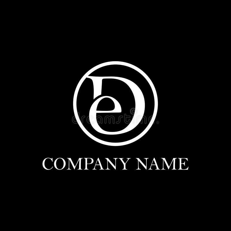 Ispirazione iniziale di progettazione di logo del DE illustrazione di stock