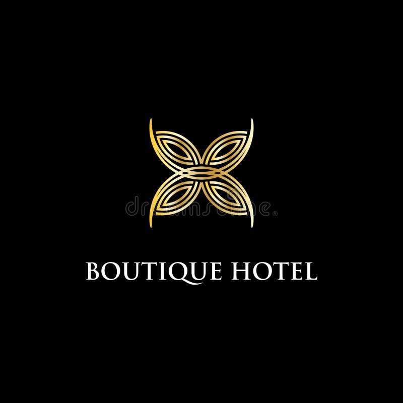 Ispirazione moderna di progettazione di logo dell'hotel di boutique, lusso ed illustrazione abile di vettore illustrazione vettoriale