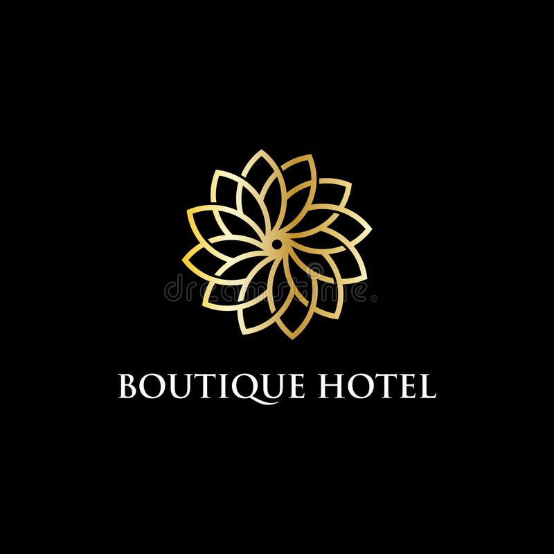 Ispirazione moderna di progettazione di logo dell'hotel di boutique, lusso ed illustrazione abile di vettore royalty illustrazione gratis