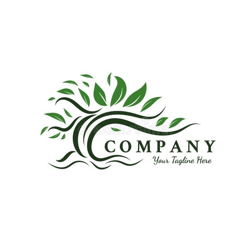 Ispirazioni di progettazioni di logo degli alberi, radice, foglia illustrazione di stock