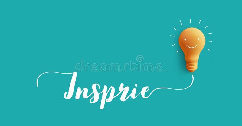 Ispiri il messaggio con la lampadina idea di creatività di affari illustrazione vettoriale